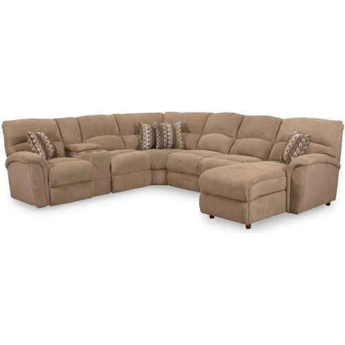 Lane Express Grand Torino Transitional 4 Piece Sectional with Stationary Chaise