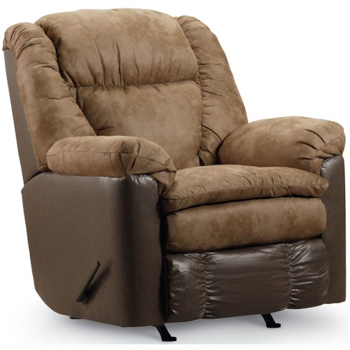 Lane Express Talon Rocker Recliner in Two Toned Dark Brown and Beige