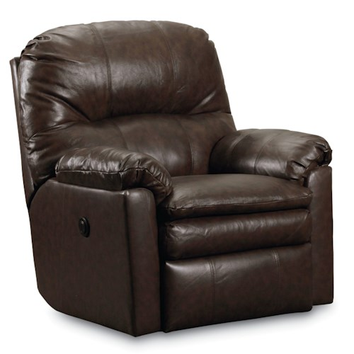 Lane Express Touchdown  Quick Ship Power Rocker Recliner with Double Seat Cushion