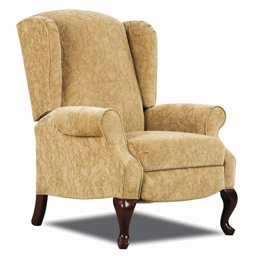 Lane Hi Leg Recliners Traditional Heathgate Hileg Recliner with Wing Back Sides and Queen Anne Legs