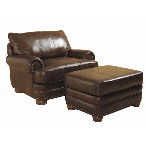 Lane Stanton Chair and Ottoman Set with Nail Head Trim and Wood Accent Legs