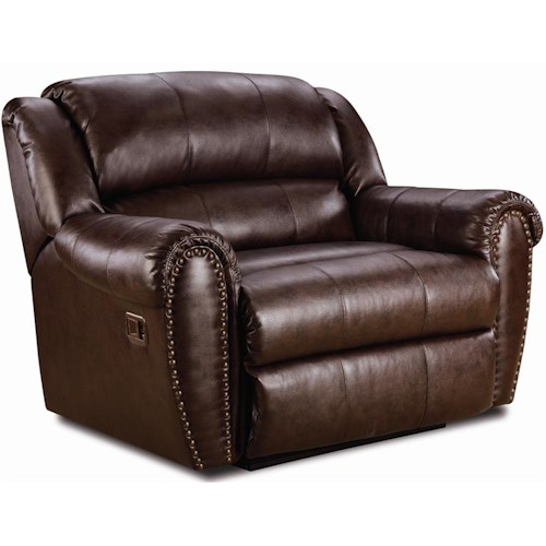 Lane Summerlin Snuggler Recliner with Rolled Arms and Nailhead Trim