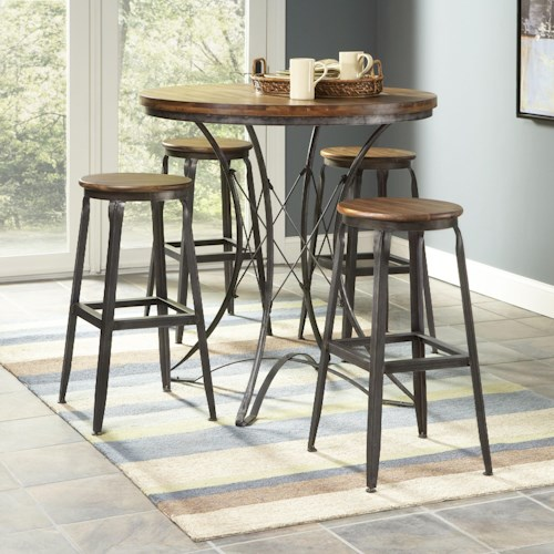 Largo Abbey Five Piece Pub Table and Backless Stools Dining Set
