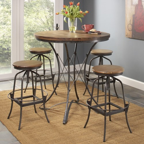 Largo Abbey Five Piece Counter Height Dining Table and Stool Set