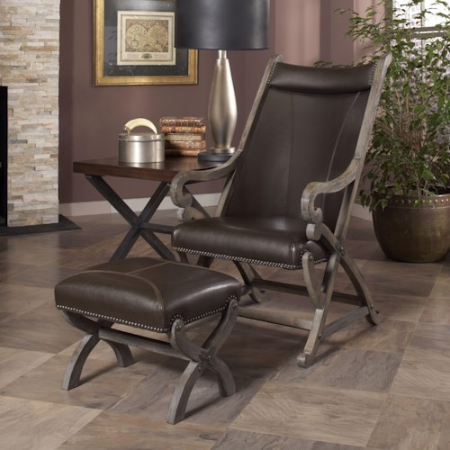 Largo Hunter Hunter Leather Chair and Ottoman