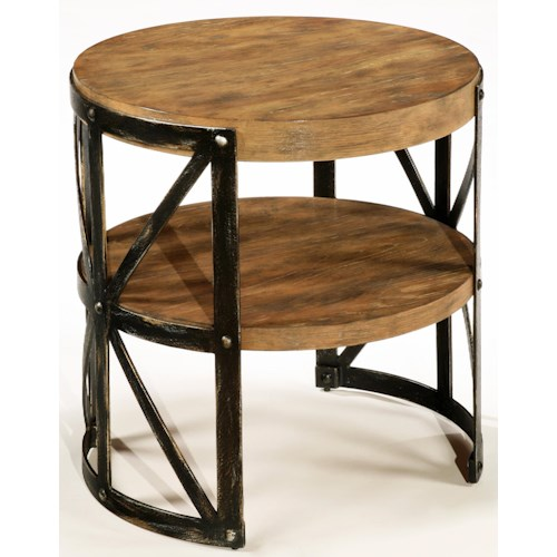 LaurelHouse Designs Ashton Round Single Shelf End Table with Union Jack Metal Frame