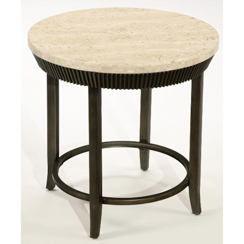 LaurelHouse Designs Calabria Round End Table with Natural Marble Top, Dark Metal Base and Fluted Apron Design