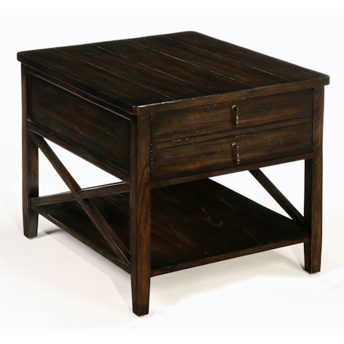 LaurelHouse Designs Cameron Tables Rectangular 2 Drawer End Table with Bottom Shelf, Crossbar Ends, and Pendant Hardware