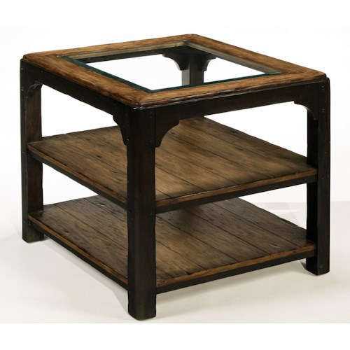 LaurelHouse Designs Carson Rectangular Glass Top End Table with Two Planked Shelves and Twp-Toned Finish