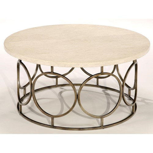 LaurelHouse Designs Circa Round Cocktail Table with Travertine Top and Circular Antiqued Brass Base