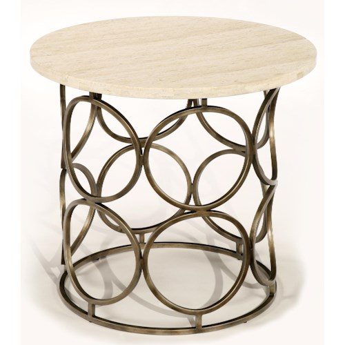LaurelHouse Designs Circa Round End Table with Travertine Top and Circular Antiqued Brass Base
