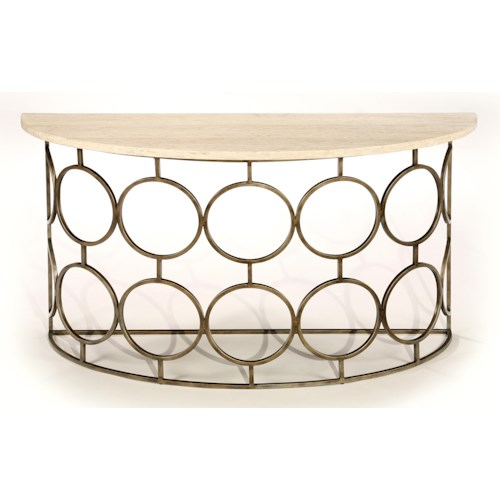 LaurelHouse Designs Circa Semi-Circular Console Table with Travertine Top and Rounded Antiqued Brass Base