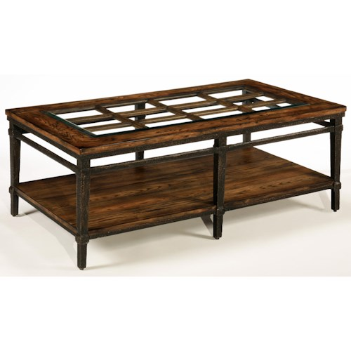 LaurelHouse Designs Courtney Rectangular Cocktail Table with Shelf and French Window Wood Design on Top