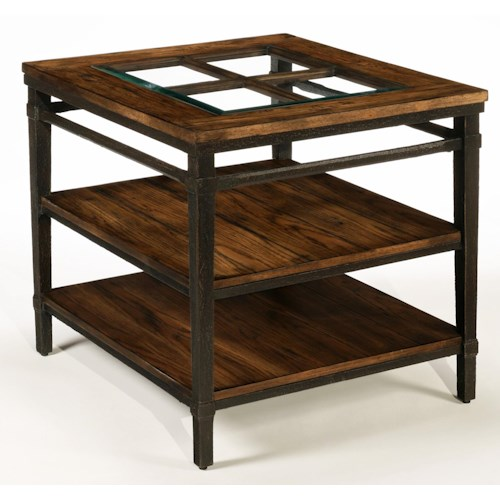 LaurelHouse Designs Courtney Rectangular End Table with 2 Shelves and Glass and French Window Wood Design on Top