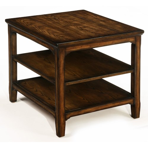 LaurelHouse Designs Denver Rectangular End Table with 2 Shelves, Tapered Legs, and Burnished Oak Finish