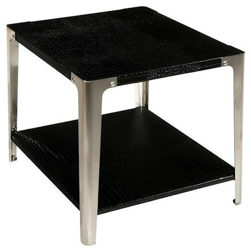 LaurelHouse Designs Gotham Rectangular End Table with Croc Bonded Leather & Industrial Style Metal Legs