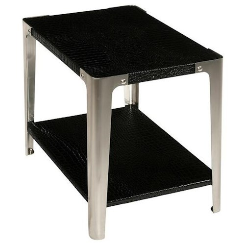 LaurelHouse Designs Gotham Chairside Rectangular End Table with Croc Bonded Leather & Industrial Style Metal Legs
