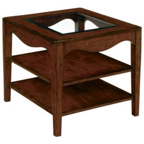 LaurelHouse Designs Landon  Rectangular End Table With 2 Shelves and Beveled Glass Insert