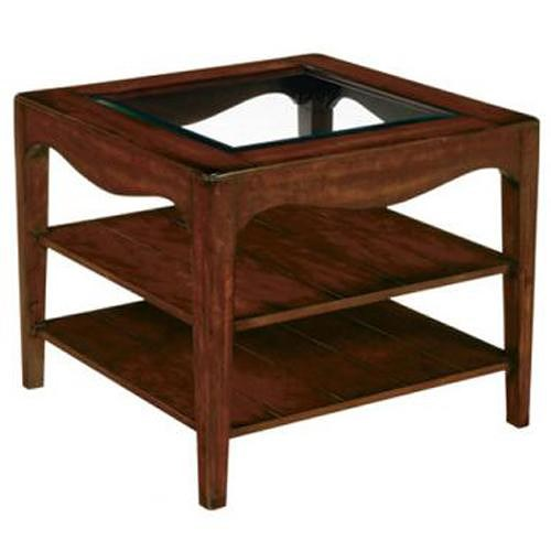 LaurelHouse Designs Landon  Square End Table With 2 Shelves and Beveled Glass Insert