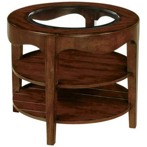 LaurelHouse Designs Landon  Round End Table With 2 Shelves and Beveled Glass Insert