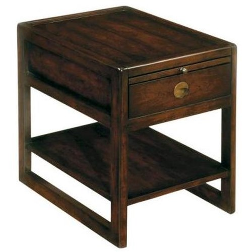 LaurelHouse Designs Logan Rectangular Chairside Table with Top Pull-Out Shelf, Single Drawer, and Bottom Open Shelf