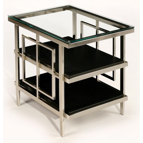 LaurelHouse Designs Matrix Rectangular Nickel Accent Table with Geometric Shapes, Glass Top, and 2 Black Shelves