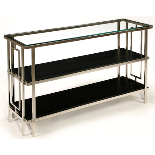 LaurelHouse Designs Matrix Rectangular Nickel Console Table with Geometric Shapes, Glass Top, and 2 Black Shelves