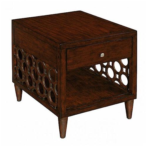 LaurelHouse Designs Orbit Rectangular End Table with Drawer and Shelf
