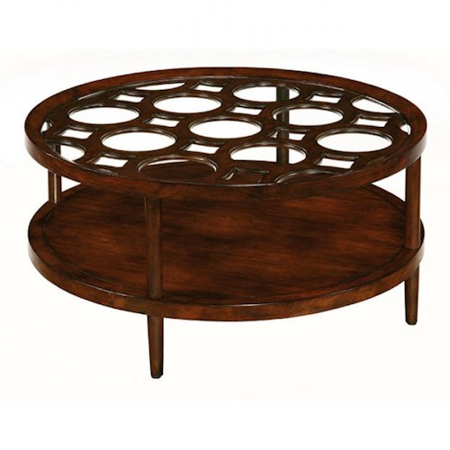 LaurelHouse Designs Orbit Round Cocktail Table with Wood and Glass Top