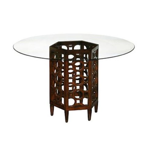 LaurelHouse Designs Orbit Round Dining Table with Clear Glass Top