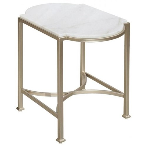 LaurelHouse Designs Selene Accent Table with Bianco Crown White Marble Top