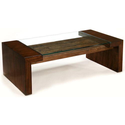 LaurelHouse Designs Sierra Rectangular Cocktail Table with Front-to-Back Legs and Glass Top