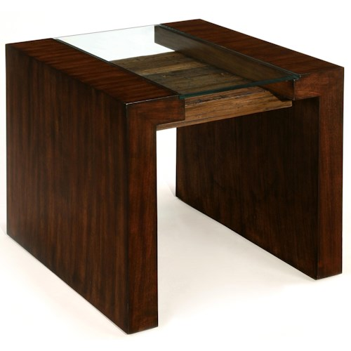 LaurelHouse Designs Sierra Rectangular End Table with Front-to-Back Legs and Glass Top