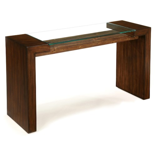 LaurelHouse Designs Sierra Rectangular Console Table with Front-to-Back Legs and Glass Top