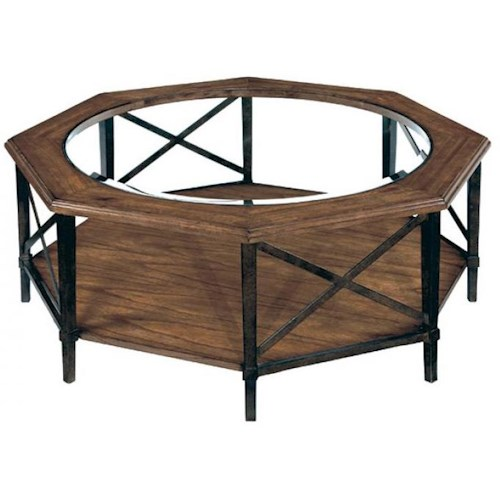 LaurelHouse Designs Tanner Octagonal Coffee Table w/ Glass Insert Top