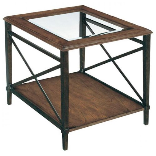 LaurelHouse Designs Tanner Rectangular End Table with Glass Top & Metal Base with Cross-Supports