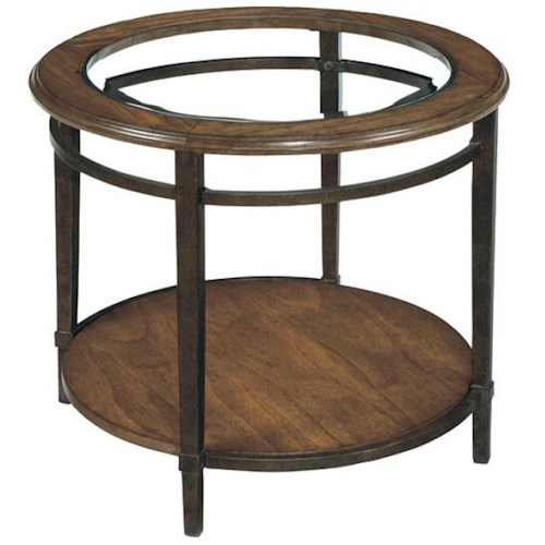 LaurelHouse Designs Tanner Round Side Table w/ Insert Glass Top
