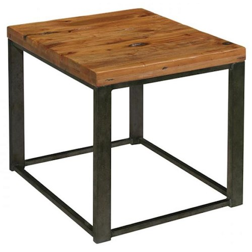 LaurelHouse Designs Tribeca Industrial Style Rectangular End Table with Mahogany Top