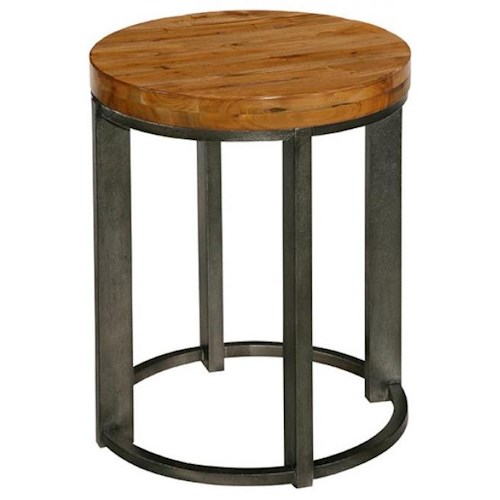LaurelHouse Designs Tribeca Industrial Style Round End Table with Mahogany Top