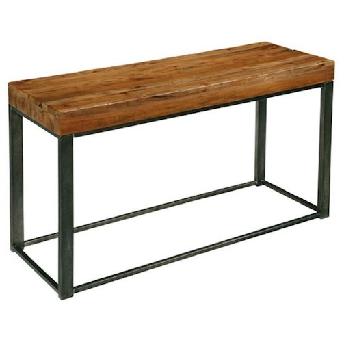LaurelHouse Designs Tribeca Industrial Style Console Table with Mahogany Top