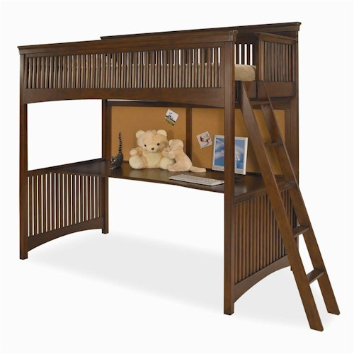 Morris Home Furnishings Fairmont Twin-Size Loft Bed with Desk Panel