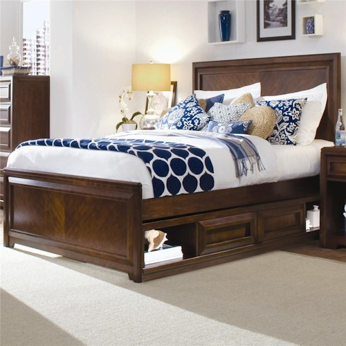 Morris Home Furnishings Roma Full Contemporary Panel Bed with Underbed Drawer Box