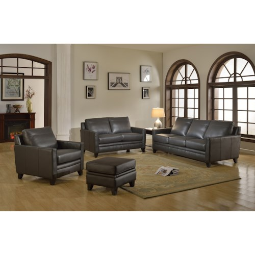 Leather Italia USA Fletcher Leather Living Room Group