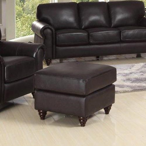 Leather Italia USA Amherst Traditional Ottoman with Turned Wood Legs