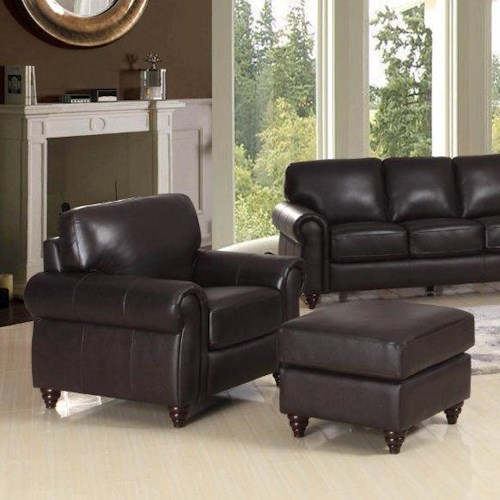 Leather Italia USA Amherst Traditional Chair and Ottoman with Turned Feet
