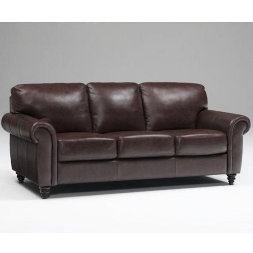 Leather Italia USA Amherst Traditional Sofa with Rolled Arms and Turned Feet