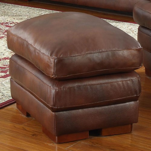 Leather Italia USA Baron Leather Cocktail Ottoman