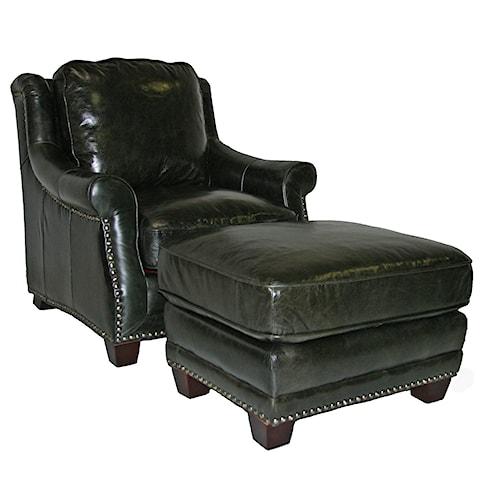 Leather Italia USA Buchanan Traditional Chair & Ottoman Set