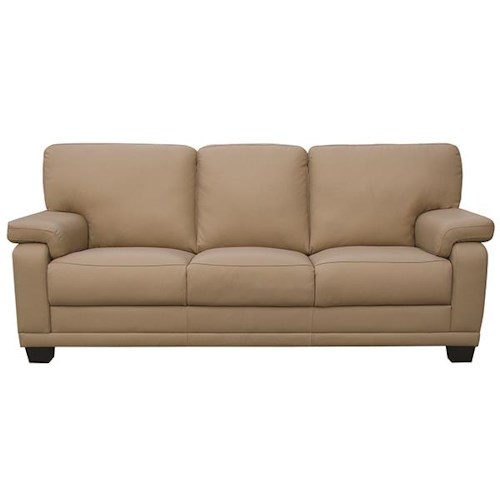 Leather Italia USA Carlisle Casual-Contemporary Sofa with Saddle Bag Arm