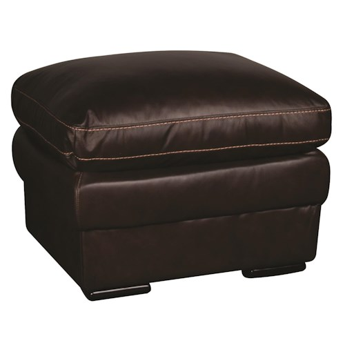 Morris Home Furnishings Giovani 100% Leather Ottoman